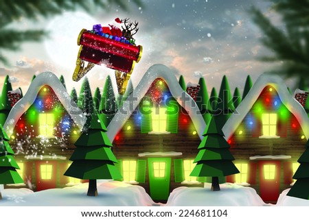 Santa flying his sleigh against quaint town with bright moon - stock photo