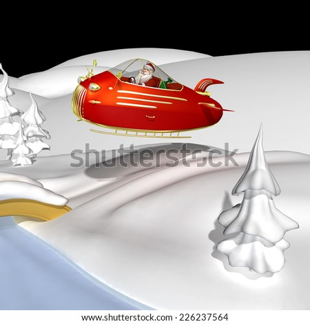 Santa Flying In Jet Powered Sled - Santa is flying over the snow in his new jet powered sleigh with a golden reindeer hood ornament.  - stock photo