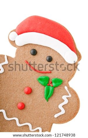Santa Gingerbread Man cookie isolated on white - stock photo