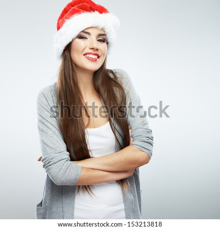 Santa girl. Christmas woman. Happy model isolated portrait.