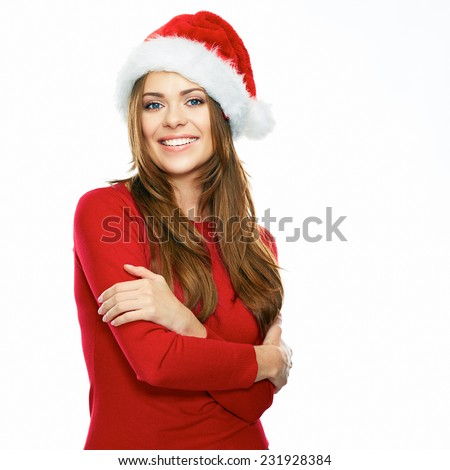 santa girl crossed arms portrait. smiling female model with long hair. isolated white background.Christmas style. - stock photo