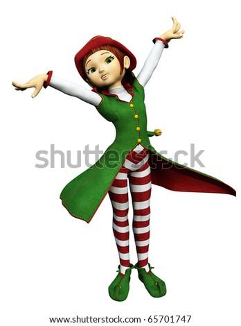 santa girl hands up - stock photo