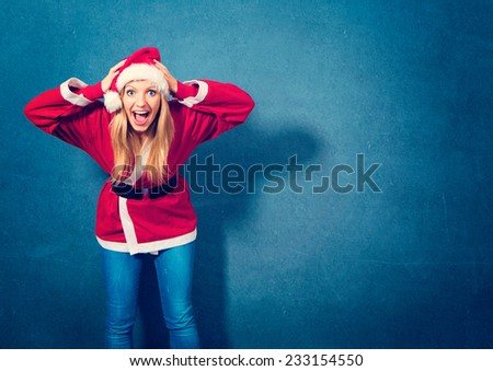Santa girl is stressed - stock photo