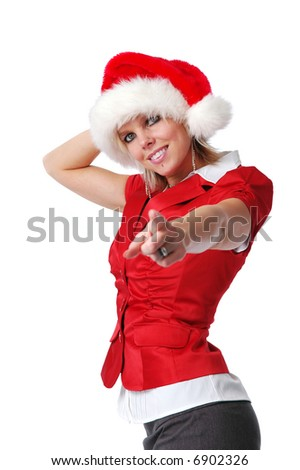 Santa girl pointing isolated on a white background