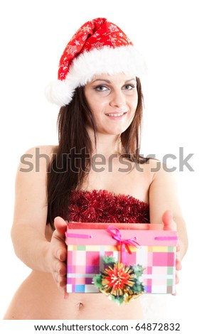 Santa girl with a present (focus on face) - stock photo