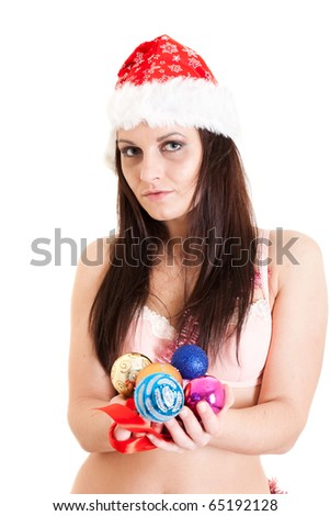 Santa girl with Christmas balls - stock photo