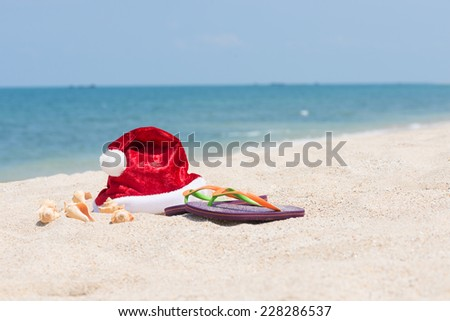 Santa hat and conch shells on sandy beach with blue sea background