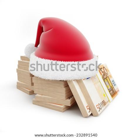 santa hat euro on a white background  - stock photo