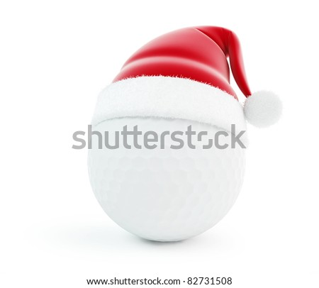 santa hat golf ball isolated on a white background - stock photo