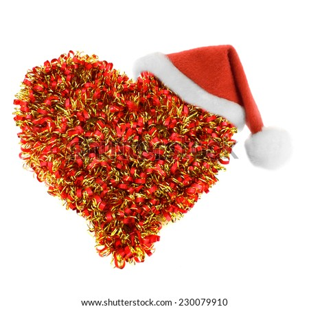 Santa hat in festoon heart isolated on white background - stock photo