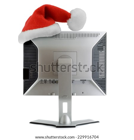 santa hat in LCD display back view isolated on white background - stock photo