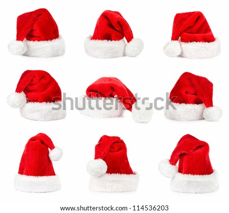 Santa hat isolated in white background  collection