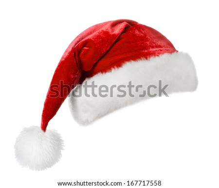 Santa hat, isolated on white  - stock photo