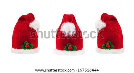 Santa Hat isolated on white Background. Christmas Collage - stock photo