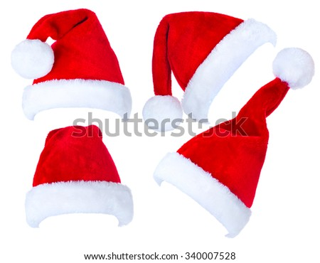 Santa Hat isolated on white Background. Christmas Collage of Red Santa Claus Hats.  - stock photo