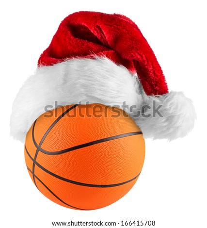 santa hat on basketball on white background - stock photo