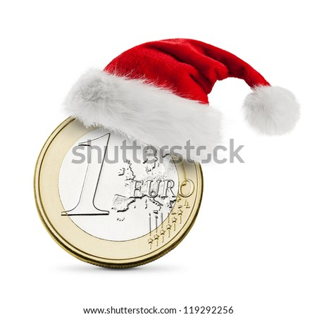 Santa hat on coin one euro
