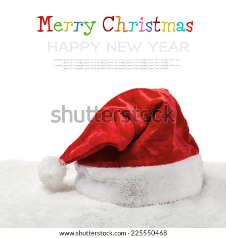 Santa hat on snow isolated on white background. inscription is a sample text for congratulation - stock photo