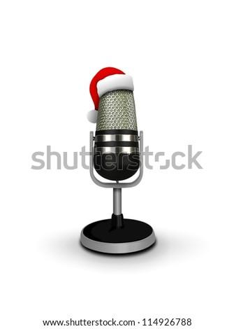 Santa Hat on vintage microphone - stock photo