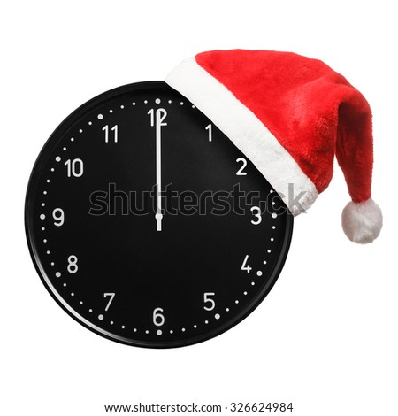 Santa hat with Christmas clock showing twelve o'clock isolated on white  - stock photo