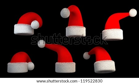 Santa hats in different positions - stock photo