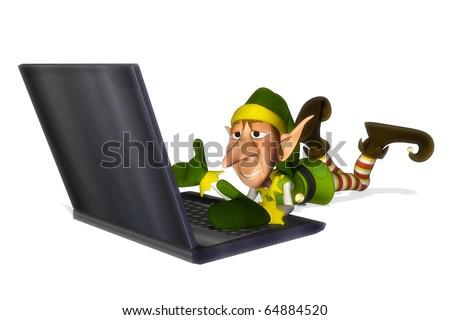 santa helper cartoon laptop laying down - stock photo