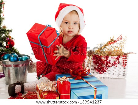Santa helper  girl with gift