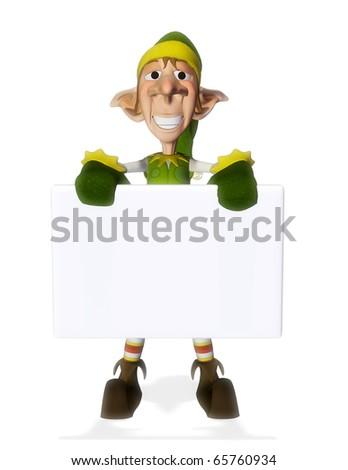 santa helper hold a sign 5 - stock photo