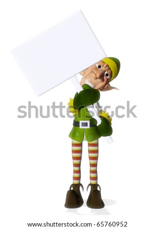 santa helper hold a sign - stock photo