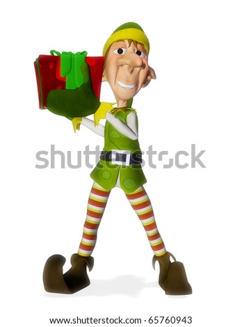 santa helper hold holding a present - stock photo