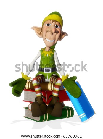 santa helper on the books - stock photo