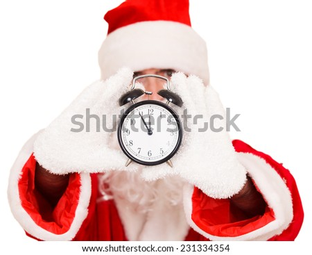 Santa Holding a Alarm Clock - stock photo