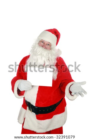 "santa holds a blank sign  ""isolated on white"" with room for your text"