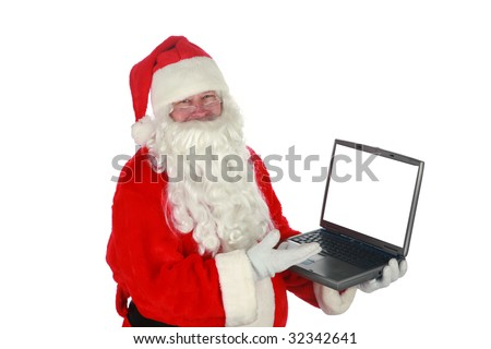 santa holds a lap top comuter and makes hand gestures isolated on white with room for your text - stock photo