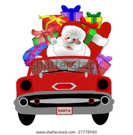 santa in his car - stock photo