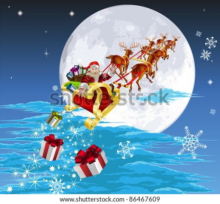 Santa in his Christmas sled or sleigh, delivering his Christmas gifts to everyone - stock photo