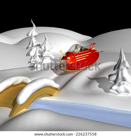Santa In Jet Powered Sled - Santa is in the snow in his new jet powered sleigh with a golden reindeer hood ornament.  - stock photo