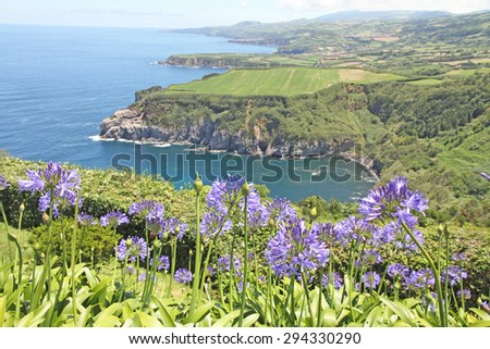 Santa Iria lookout in Sao Miguel island Azores Portugal - stock photo