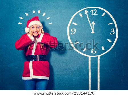 Santa is stressed - Santagirl - stock photo