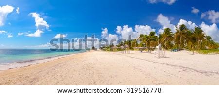Santa Lucia beach on a sunny day, Camaguey Province, Cuba - stock photo