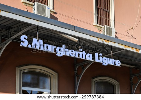 SANTA MARGHERITA LIGURE, ITALY - MAR 8, 2015: Railway station in Santa Margherita Ligure, which is popular touristic destination in summer