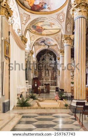 SANTA MARGHERITA LIGURE, ITALY - MAR 8, 2015: San Giacomo di Corte church, one of the most important sites of Santa Margherita Ligure, Italy