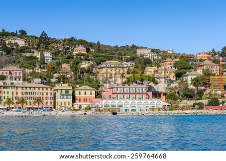 SANTA MARGHERITA LIGURE, ITALY - MAR 8, 2015: Santa Margherita Ligure, which is popular touristic destination in summer