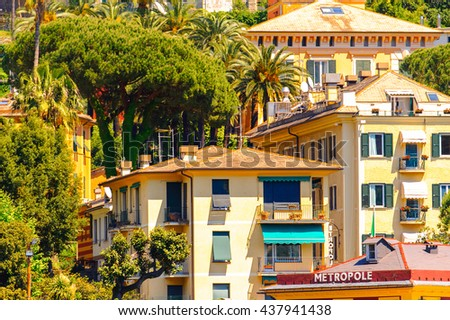 SANTA MARGHERITA LIGURE, ITALY - MAY 4, 2015: Architecture of Santa Margherita Ligure, which is popular touristic destination in summer