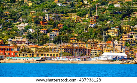 SANTA MARGHERITA LIGURE, ITALY - MAY 4, 2015: Coast of Ligurian Sea in Santa Margherita Ligure, which is popular touristic destination in summer
