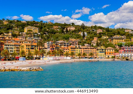 SANTA MARGHERITA LIGURE, ITALY - MAY 4, 2015: Panorama  of Santa Margherita Ligure, which is popular touristic destination in summer