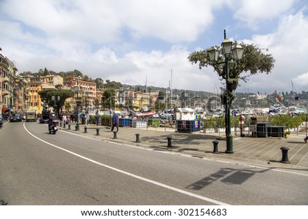 SANTA MARGHERITA LIGURE, ITALY - MAY 2, 2015: Unidentified people on the street of Santa Margherita Ligure, Italy. It is a town in the province of Genoa in the Tigullio traditional area.