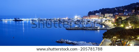 Santa Margherita Ligure on the Italian Riviera.  Night view, panorama.