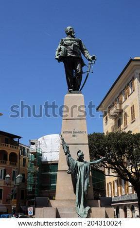 SANTA MARGHERITA TOWN, LIGURIA, ITALY - MAY 04: Monument to Vittorio Emanuele II, first king of a united Italy. The Italians gave him the epithet Father of the Fatherland, on May 04, 2014