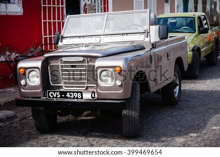 SANTA MARIA, CAPE VERDE - DECEMBER 16, 2015: Old Land Rover Series 3 polished silver. Vintage four wheel drive car - stock photo